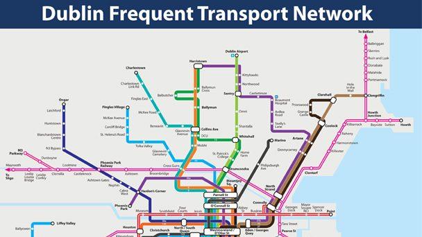 Se virando em Dublin: Dublin Frequent Transport Map